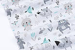 """Лоскут тканини """"Ведмеді з косинкою, лисички, зайчики"""" сіро-м'ятні на білому тлі, розмір 35*80 см, фото 6"""