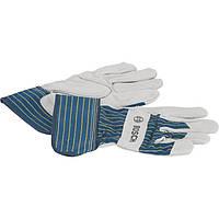 Перчатки защитные Bosch с вставками из бычьей кожи GL SL 10, 10 пар 2607990105, фото 1