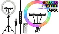 Кільцева LED RGB лампа діаметром MJ36 36 см з пультом, 3 кріплення, Black 14639