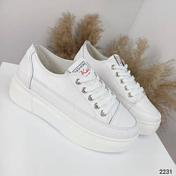 Кожаные женские кеды Код: 2231 Цвет белый  41-46
