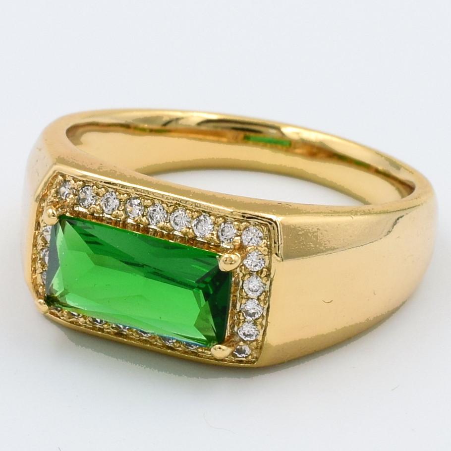 XUPING Кольцо Позолота 18к с зеленым и белыми цирконами Высота 0.9см, Размер 17