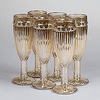 Бокалы для шампанского цветные перламутровые набор 150мл*6шт