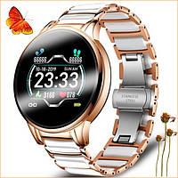 Женские умные смарт часы Smart золотистого цвета стильные сенсорные многофункциональные наручные часы