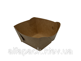 Тарілка човник Крафт с ламинацией 100*100*45 мм, упаковка 100шт, (1,42 грн/шт)