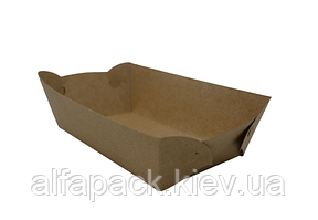 Тарілка човник Крафт с ламинацией 180*100*45 мм, упаковка 100шт, (1,6 грн/шт)