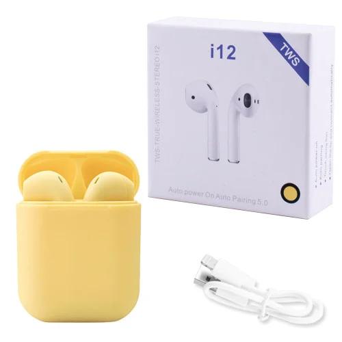 Бездротові навушники TWS i12 5.0 Bluetooth сенсорні з магнітним кейсом, жовті