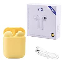 Бездротові навушники TWS i12 5.0 Bluetooth сенсорні з магнітним кейсом, жовті, фото 1