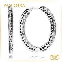 Пандора Серьги - кольца Сердца Pandora 296319CZ