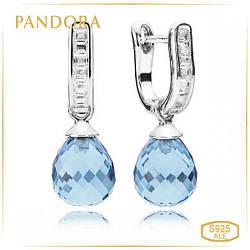 Пандора Серебряные серьги, куб. оксид циркония, кристаллы Pandora 290588NBS