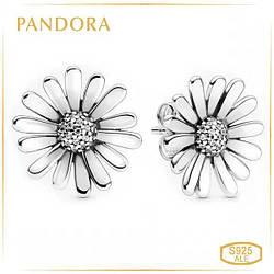 Пандора Серьги гвоздики Маргаритки Pandora 298812C01