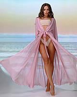 Длинная пляжная туника 001, цвет - пудра., фото 1