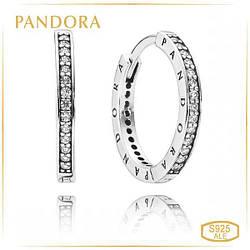 Пандора Серьги с логотипом Pandora 290558CZ