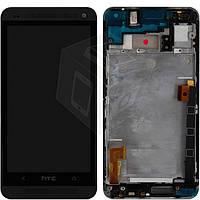 Дисплей + touchscreen (сенсор) для HTC One Dual Sim 802w, с передней панелью, черный, оригинал