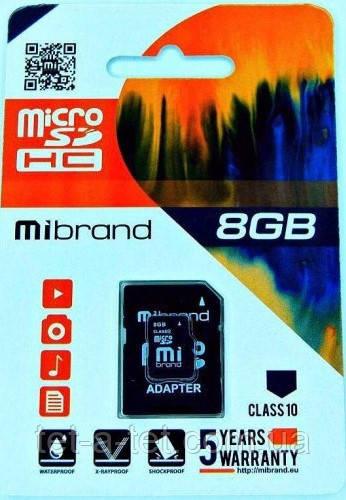 Карта пам'яті Mibrand microSDHC 8GB Class 10 (з адапетром)