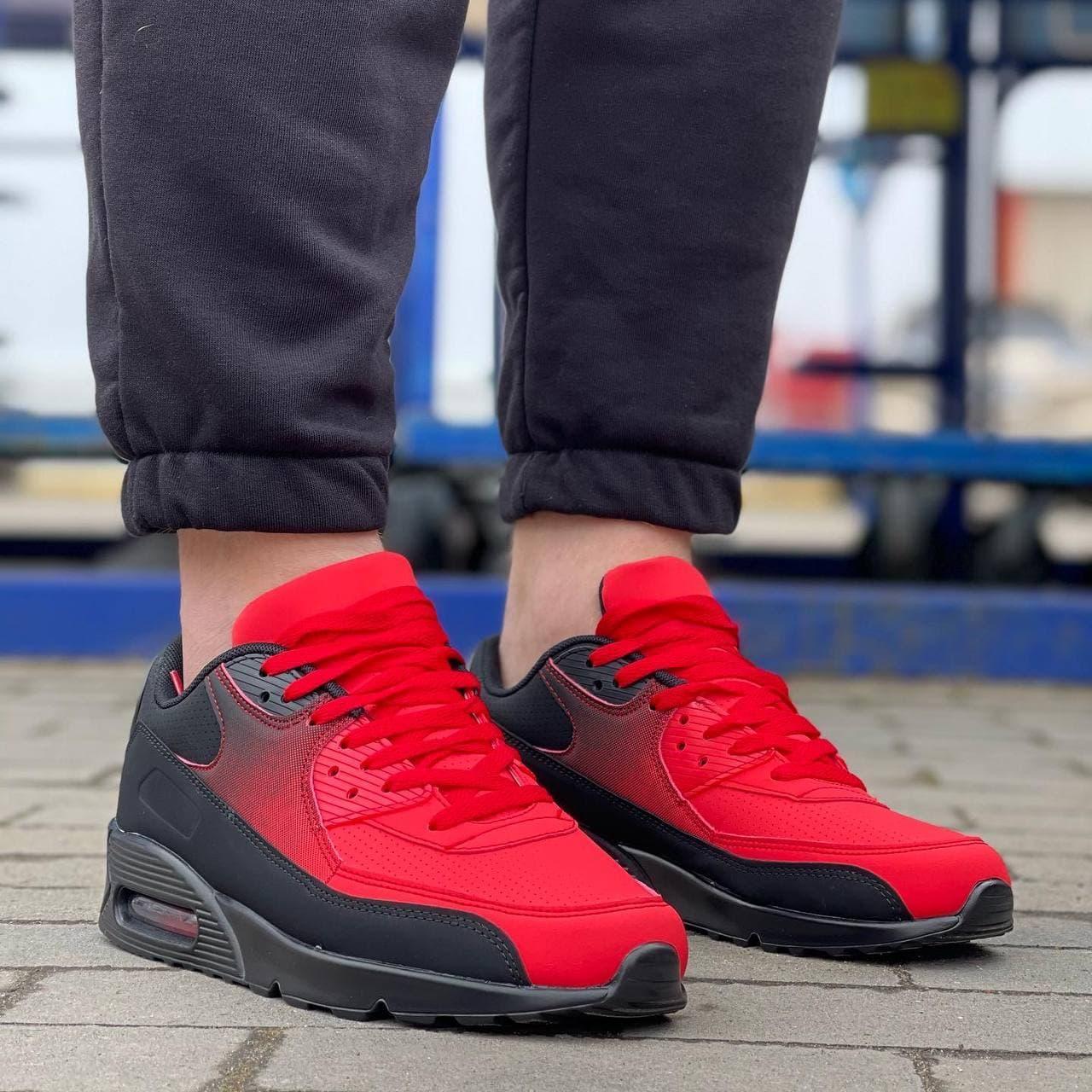 Мужские кроссовки в стиле Ривал  (черные с красым)