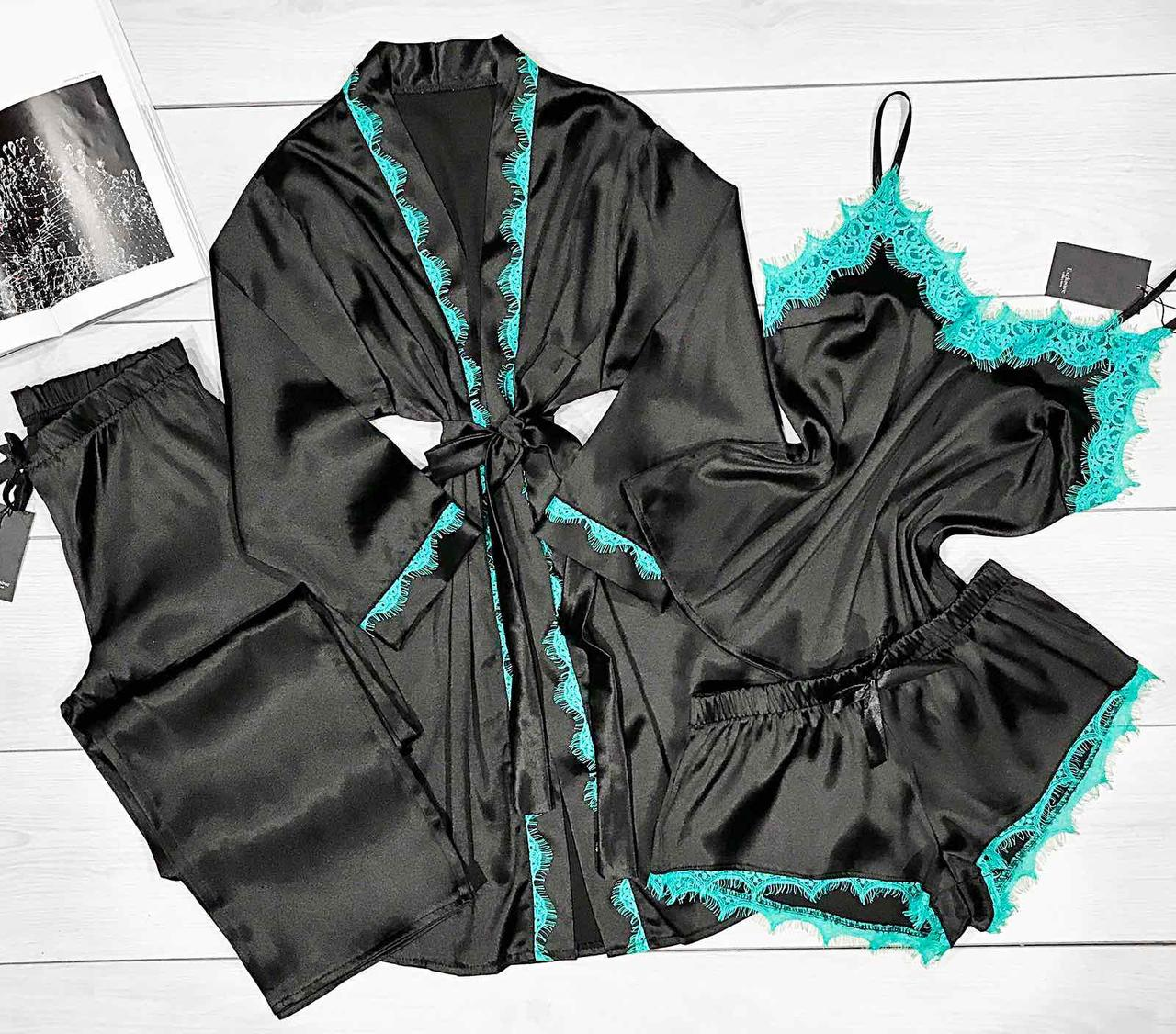 Стильный комплект для дома халат+пижама+штаны с бирюзовым кружевом.