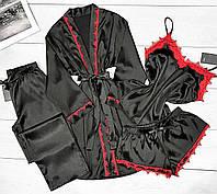 Женский комплект для дома халат+пижама+штаны с бордовым кружевом.