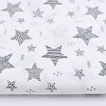 """Відріз тканини """"Візерункові зірки"""" графітові на білому (№2348), розмір 57 * 160 см, фото 2"""