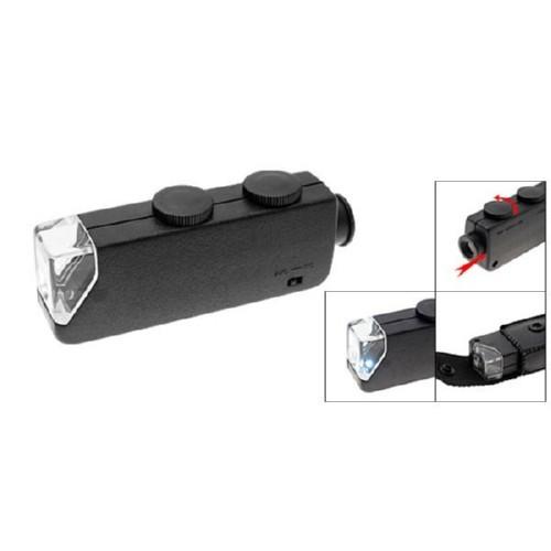Микроскоп 60-100X карманный, лупа с подсветкой, 102574