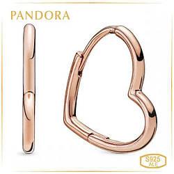 Пандора Серьги-кольца Асимметричные сердца Rose маленькие Pandora 288307