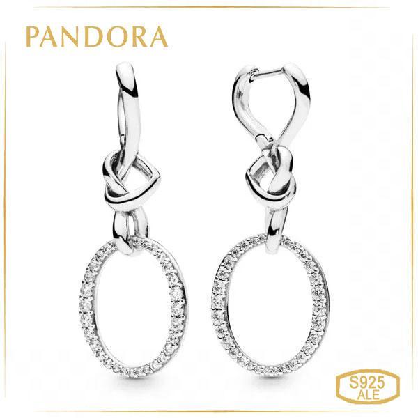 Пандора Серьги-подвески Переплетенные сердца Pandora 298110CZ