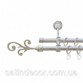 Карниз для штор металевий ФАЛА подвійний 19+19мм 1.8 м Біле золото