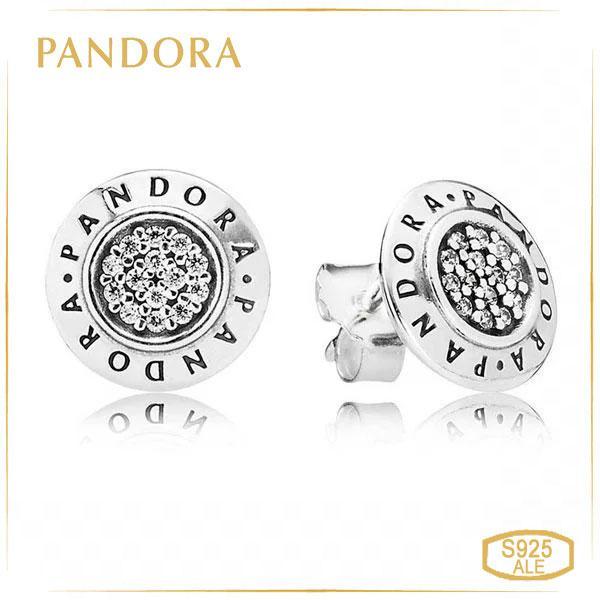 Пандора Сережки-пуссети з срібла з логотипом Pandora Pandora 290559CZ
