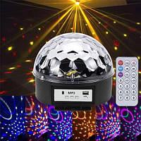 Лазерный проектор, диско шар, цветомузыка с динамиком USB пультом, 104734