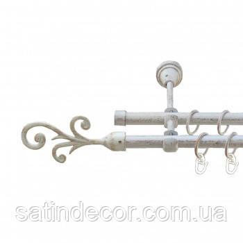 Карниз для штор металевий ФАЛА подвійний 19+19мм 2.0 м Біле золото