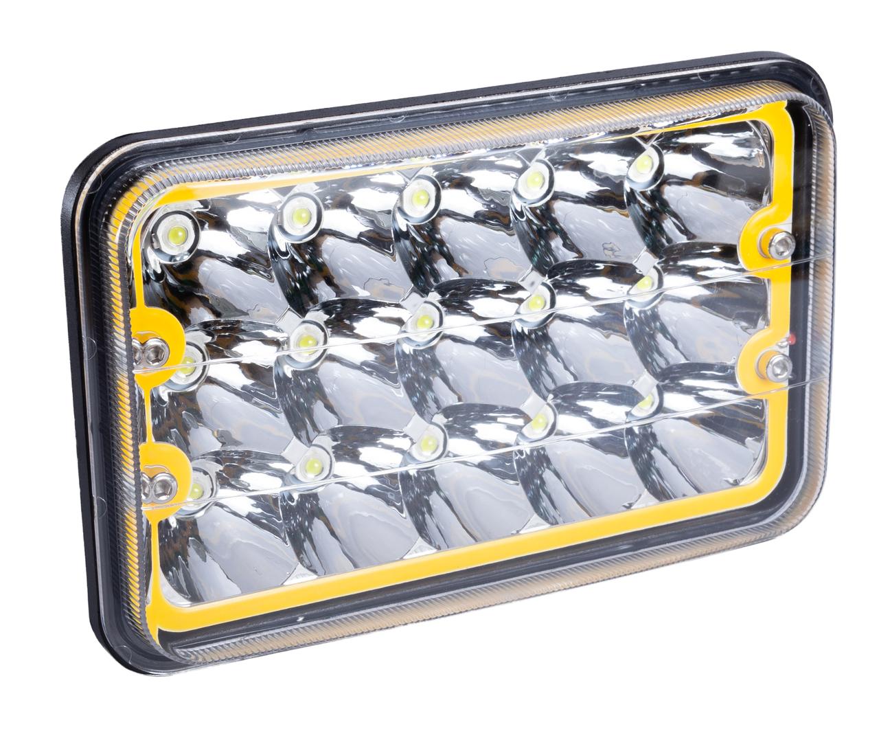Фара LED прямоугольная 45W (15 диодов) (ближн. + дальний) (+ LED кольцо белое)