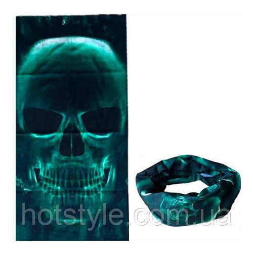 Бафф бандана-трансформер, шарф из микрофибры, 15 зеленый череп, 105028