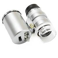 Микроскоп 60X карманный, лупа с подсветкой, 101136