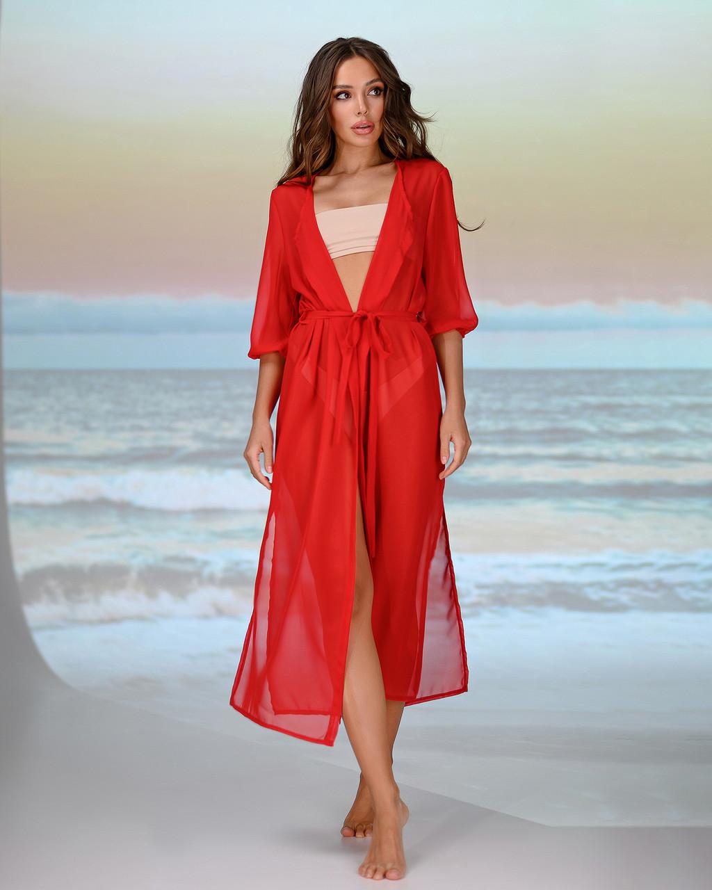 Длинная пляжная туника . Цвет - красный. Размер универсальный 42-48
