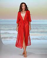 Длинная пляжная туника . Цвет - красный. Размер универсальный 42-48, фото 1