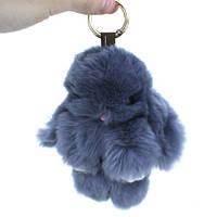 Брелок Кролик Зайчик меховой пушистый мягкий на рюкзак сумку 15см, 100617