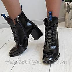 Ботинки лаковые женские демисезонные черные на каблуке 41