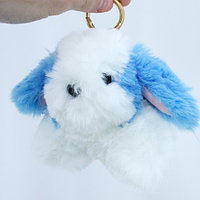 Брелок Собачка Кролик меховой пушистый мягкий на рюкзак сумку, 100616
