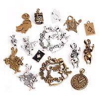Набор из 15 металлических подвесок шармов шармиков, Алиса в Стране чудес, 100904