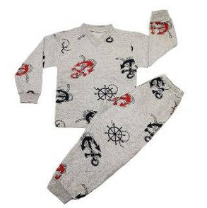Дитяча тепла піжама для хлопчика з V-подібною горловиною кольорове начісування