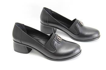 Туфли женские кожаные на широком каблуке GUERO P006-422-01