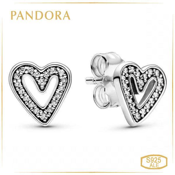Пандора Серьги-пуссеты Сверкающее сердце Pandora 298685C01