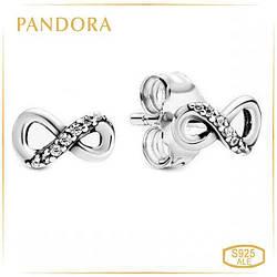 Пандора Сверкающие серьги-гвоздики Бесконечность Pandora 298820C01