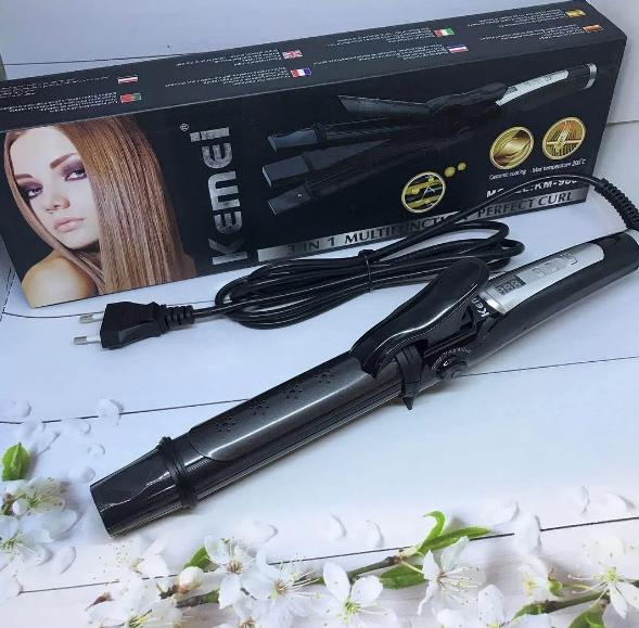 Плойка-утюжок-гофре Kemei GB-KM 988 3в1. Утюжок выпрямитель с гофре для волос.