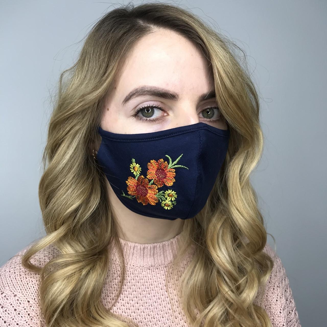 Врослая защитная маска трикотажная Цветы