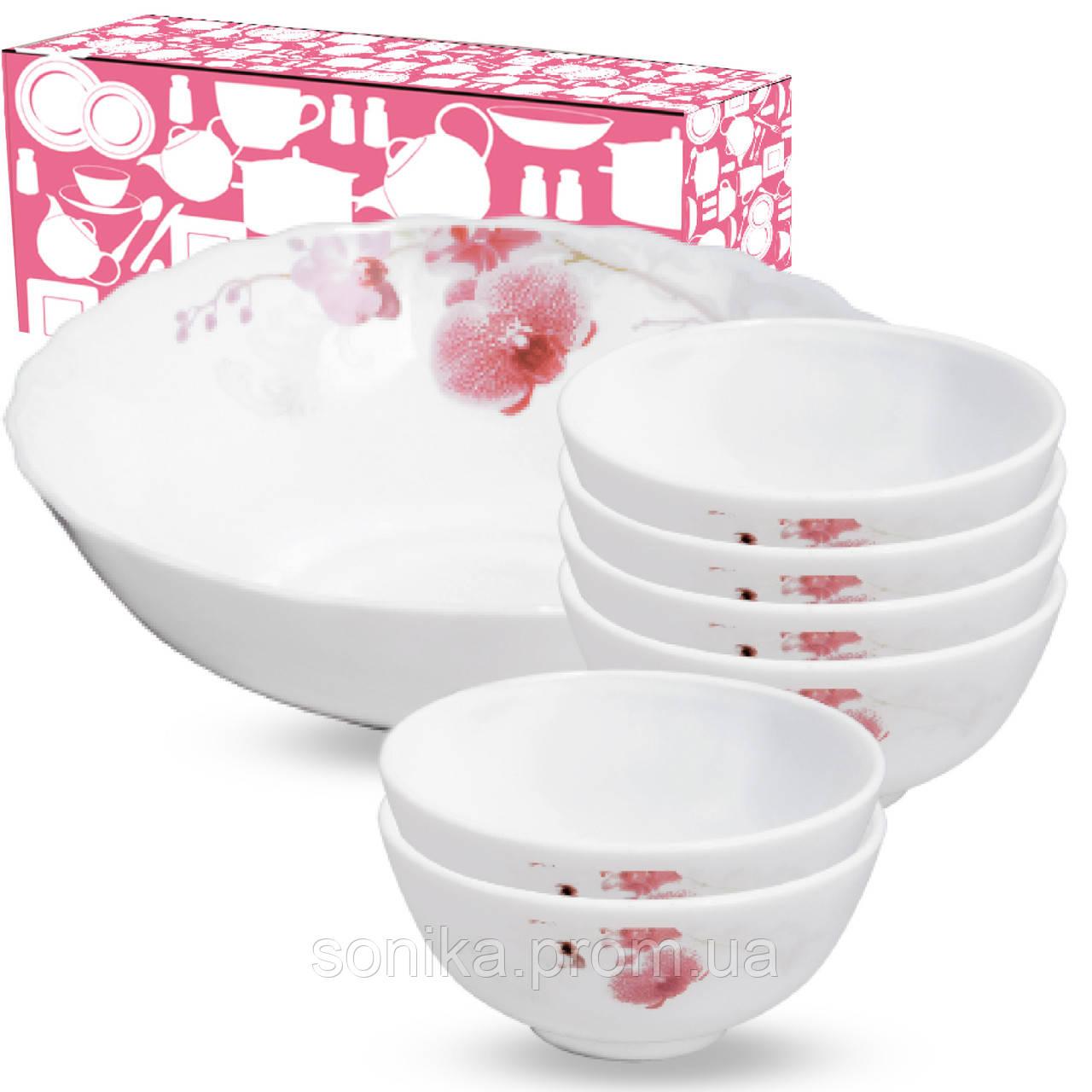 Набір салатників S&T Рожева орхідея 7 шт 30056-61099