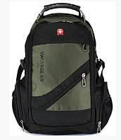 Рюкзак Городской Швейцарский SwissGear 8810b с USB и AUX кабелем + дождевик міський рюкзак Зеленый
