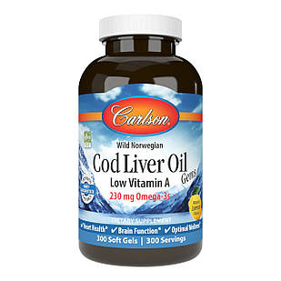 Carlson Labs Cod Liver Oil, Low Vitamin A Omega-3 з печінки дикої норвезької тріски 300 РК