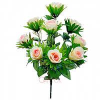 Букет атласных бутонов на подкладном листочке на 9 голов ( в упаковке 16 шт) Искусственные цветы оптом