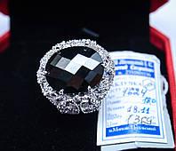 Роскошный серебряный перстень с крупным черным камнем на торжественное мероприятие, вечеринку. 18 размер