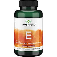 Витамин Е (Vitamin E) токоферолы Tocopherols 1000IU Swanson Premium 60 капс.